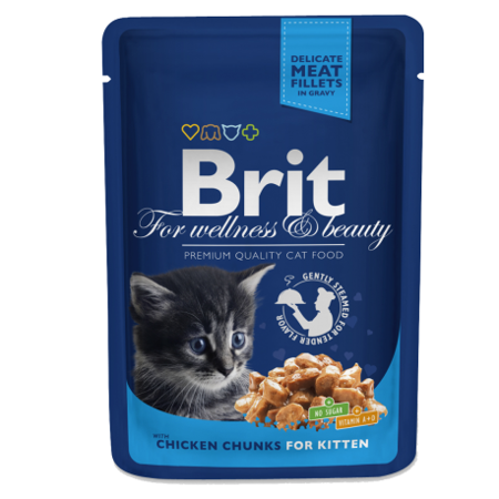 Brit For Wellness & Beauty Chicken Chunks for Kitten 100 g - mokra karma dla kociąt z kurczakiem 100g