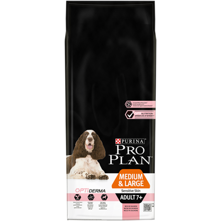 Purina Pro Plan Optiderma Medium & Large Adult 7+ Sensitive Skin 14 kg - sucha karma dla dorosłych psów rasy średniej i dużej z wrażliwą skórą 14kg