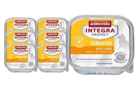 animonda integra protect sensitive z indykiem i ryżem tacka 16x100 g